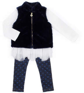 Nicole Miller Floral Top, Faux Fur Vest & Foil Dot Legging Set (Little Girls)