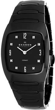 Skagen 914SBXC Men's Classic Black Ceramic Watch with Crystal Accents