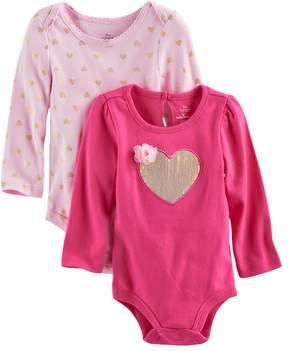 Baby Starters Baby Girl 2-pk. Foil & Sequin Heart Bodysuits