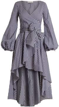 Caroline Constas Lena waterfall-hem gingham-checked cotton dress