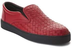 Bottega Veneta Men's Intrecciato Leather Slip-on Sneaker Shoes Red.