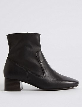 Marks and Spencer Leather Block Heel Almond Toe Ankle Boots