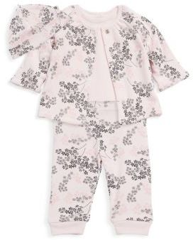 Offspring Baby Girl's Four-Piece Delicate Blush Hat, Bodysuit, Reversible Jacket & Pants Set