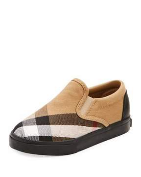 Burberry Linus Check Canvas Slip-On Sneaker