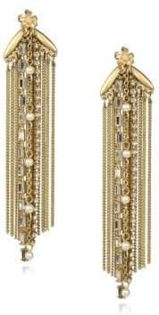 Danielle Nicole Blossom Faux-Pearl and Semi-Precious Stone Fringe Earrings
