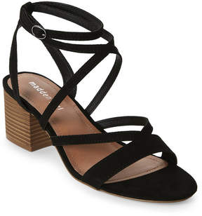 Madden-Girl Black Leexi Strappy Block Heel Sandals