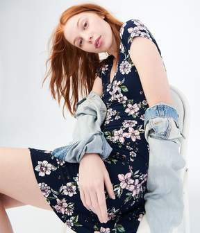 Aeropostale Floral V-Neck Laced-Back Fit & Flare Dress