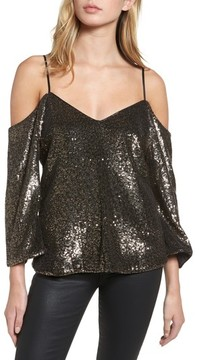 Bardot Women's Sequin Cold Shoulder Top