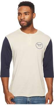 Brixton Wheeler 3/4 Sleeve Henley Tee Men's Long Sleeve Pullover