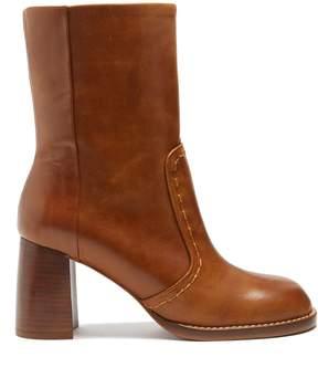 Joseph Block heel leather ankle boots