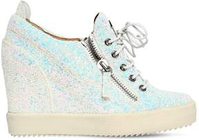Giuseppe Zanotti Design 85mm Glitter Zip Up Wedged Sneakers