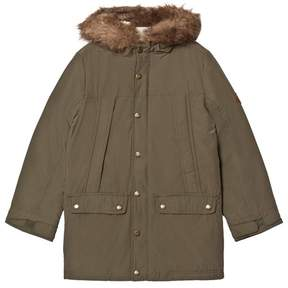 Joules Khaki Padded Parka with Teddy Lined Hood