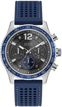 GUESS Men's Chronograph Blue Silicone Strap Watch 44mm