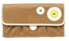 Celine Brown Canvas Beige Leather Trim Long Wallet.