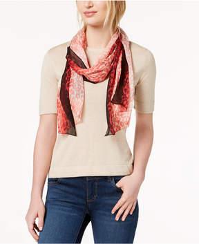 Calvin Klein Ombre-Border Leopard-Print Silk Scarf