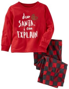 Osh Kosh Boys 4-14 Santa I can Explain 2-Piece Pajama Set