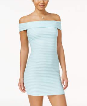 B. Darlin Juniors' Off-The-Shoulder Bodycon Dress