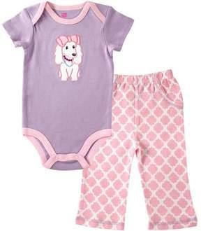 Hudson Baby Newborn Baby Girls Bodysuit and Pant Set, Purple Puppy