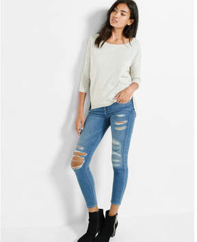 Express side zip hi-lo sweater
