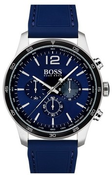 BOSS Men's Professional Chronograph Leather Strap Watch, 42Mm