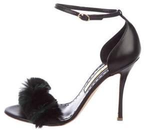 Rupert Sanderson Fur Trimmed Leather Sandals