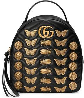 Gucci GG Marmont animal studs leather backpack - BLACK LEATHER - STYLE