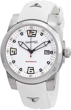 Co Eberhard And Scafomatic White Dial Automatic Men's White Rubber Watch