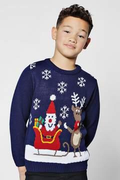 boohoo Boys Santa Sleight Christmas Jumper