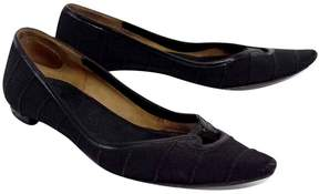 Salvatore Ferragamo Black Ribbed Pointed Toe Flats