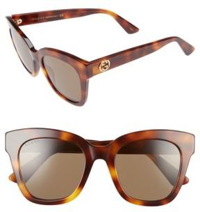 Women's Gucci 50Mm Cat Eye Sunglasses - Havana/ Brown
