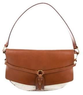 Michael Kors Leather-Trimmed Ponyhair Shoulder Bag - BROWN - STYLE