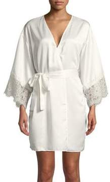 Flora Nikrooz Flora By Lace-Trimmed Long-Sleeve Robe
