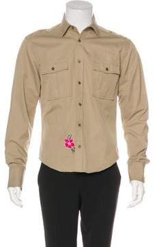 Gucci Floral-Embroidered Military Shirt