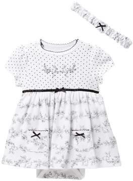 Little Me Bunny Bodysuit Dress & Headband Set