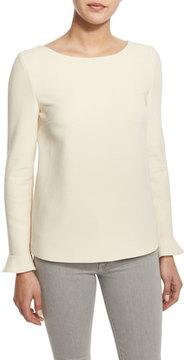 BA&SH Daring Ruffle-Sleeve Top, Cream