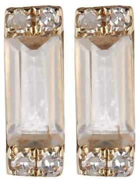 Ef Collection 14K Yellow Gold Baguette White Topaz & Diamond Detail Stud Earrings