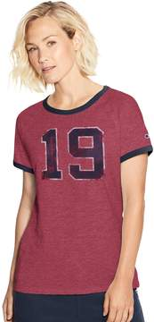 Champion Women's Heritage 19 Raglan Ringer Graphic Tee