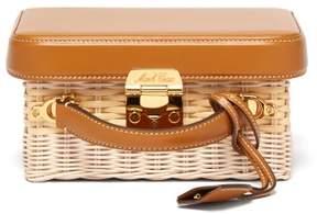 Mark Cross Grace Small Leather And Wicker Box Bag - Womens - Tan Multi