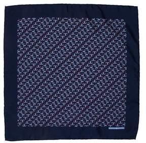 Hermes Silk Interlocking Horseshoe Print Pocket Square