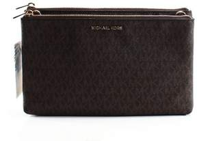 Michael Kors Leather Double Zip Crossbody - BROWN - STYLE