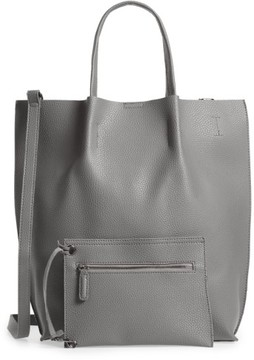 Street Level Faux Leather Tote - Grey