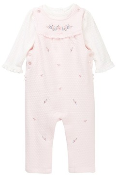 Little Me Dotted Shirt & Embroidered Overall Set (Baby Girls)