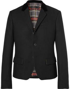 Haider Ackermann Slim-Fit Velvet-Trimmed Wool Blazer