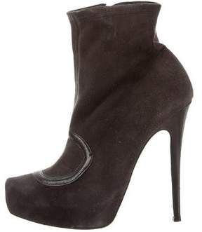 Missoni Suede Round-Toe Ankle Boots