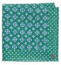 Isaia Medallion-Print Linen Pocket Square