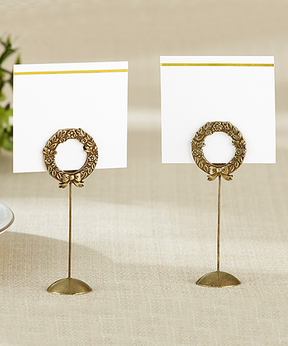 Gold Laurel Place Card Holder - Set of 12