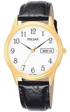 Pulsar Men's Day/Date Watch - Gold Tone with White Dial and Black Leather Strap - PXN080