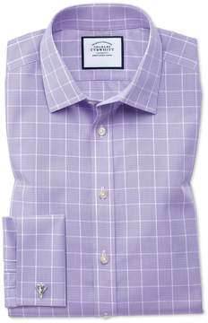 Charles Tyrwhitt Classic Fit Non-Iron Prince Of Wales Lilac Cotton Dress Shirt Single Cuff Size 15/34