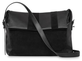 Allsaints Casey Calfskin Leather & Suede Shoulder Bag - Black