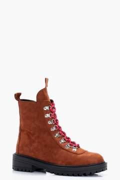 boohoo Lace Up Biker Boots